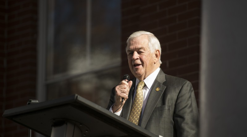 Dedication of the Revolutionary War Memorial Statue on the grounds of the Loudoun County Court House in Leesburg Virginia, November 11, 2015. Here former Delegate Joe May (R-Leesburg) addresses the crowd during the dedication. (Photo By Douglas Graham/Loudoun Now)