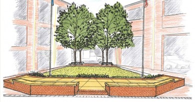 The stage approved by Leesburg Town Council will accommodate events such as Acoustic on the Green concert series, the 9/11 Remembrance Ceremony and the Christmas Tree and Menorah Lighting festivities. [Town of Leesburg]