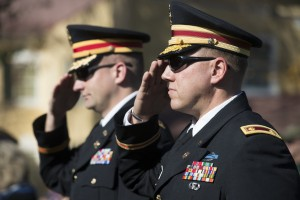 UNITED STATES - November 11, 2015 : The George C. Marshall International Center, the Town of Leesburg, and Loudoun County held a commemorate Veterans Day ceremony on the grounds of The Marshall House. (Photo By Douglas Graham/Loudoun Now)