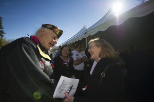 UNITED STATES - November 11, 2015 : The George C. Marshall International Center, the Town of Leesburg, and Loudoun County held a commemorate Veterans Day ceremony on the grounds of The Marshall House. Here Johnny Rocca and Mayor of Leesburg Kristen Umstattd during the ceremony on the grounds of The Marshall House. (Photo By Douglas Graham/Loudoun Now)