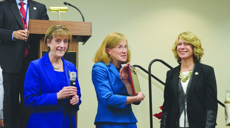 Leesburg Mayor Kristen Umstattd was celebrated Tuesday night at a farewell ceremony held in her honor at Ida Lee Park Recreation Center.