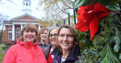 Members of the Leesburg Garden Club, from left, Kate Williams, June Hambrick, Gladys Lewis and Libby Devlin spent Tuesday morning making and hanging holiday wreaths.