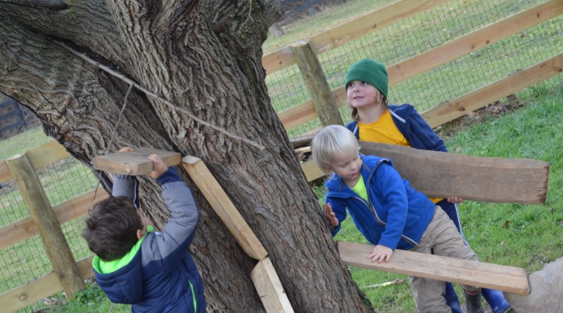 At Little Tree Huggers, the youngsters' creativity drives their play time. From left, Aedan, 4, Grayson, 4, and Stone, 5, take a recess from classroom lessons.