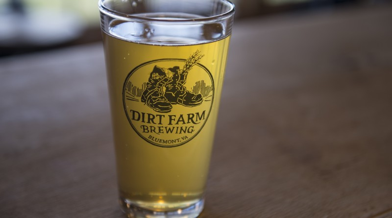UNITED STATES - December 7, 2015: A pint of Work Session IPA beer sits in the tasting room at Dirt Farm Brewing. Nested in Blue Ridge Mountains 1 mile outside of the village of Bluemont, the family owned and operated farm sits on 100 acres in Loudoun County. The brewery has spectacular easterly views of the Loudoun Valley and also a nice rustic tasting room that was built in the 1940's and has plenty of indoor and outdoor seating. Dirt Farm's focus is brewing small batches of hand crafted beer from fresh ingredients grown on the family farm. (Photo By Douglas Graham/Loudoun Now)