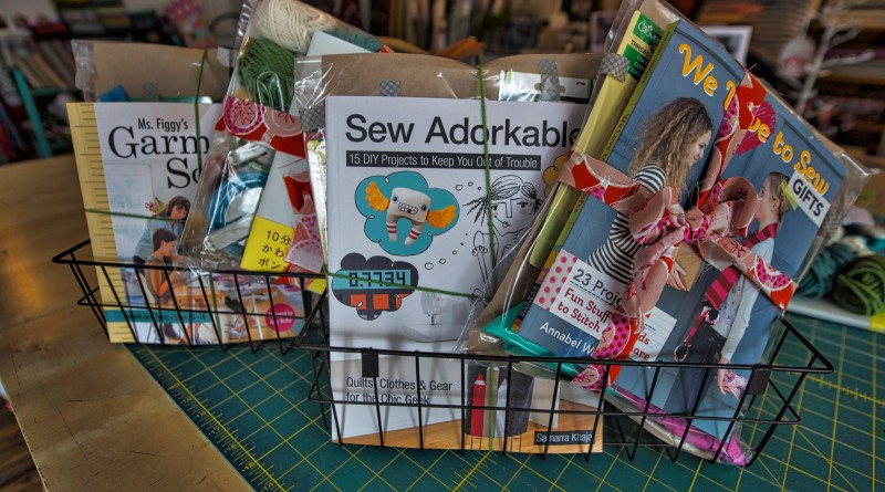 UNITED STATES - December 14, 2015: Finch Sewing Studio in downtown Leesburg Virginia is a boutique selling sewing and knitting supplies. Sewing kits ready as gifts have everything you need to get started. (Photo by Douglas Graham/Loudoun Now)