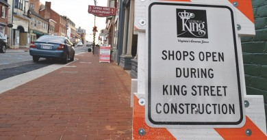 Construction on downtown Leesburg street improvements is almost wrapped up. Proponents of the project are looking forward to more outdoor dining options. (Renss Greene/Loudoun Now)