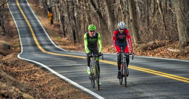 Pro cyclist Justin Mauch and Joe Dombrowski ride across Mt. Weather in the Blue Ridge Mountains of Virginia near Paris.  (Douglas Graham/Loudoun Now)