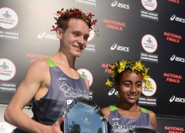Drew Hunter, a senior at Loudoun Valley High School, and Weini Kelati, a Heritage High School junior, finished first in the Foot Locker Cross Country Championships national finals Saturday.