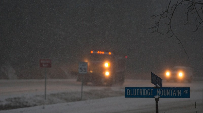 Blizzard warnings are in effect for for most of the Mid Atlantic with up to 30 inches in Loudoun. Here a VDOT snow plow struggles to stay ahead of the storm on top of the Blue Ridge Mountains alone route 7 and 601in Loudoun County.    [Photo by Douglas Graham/Loudoun Now]