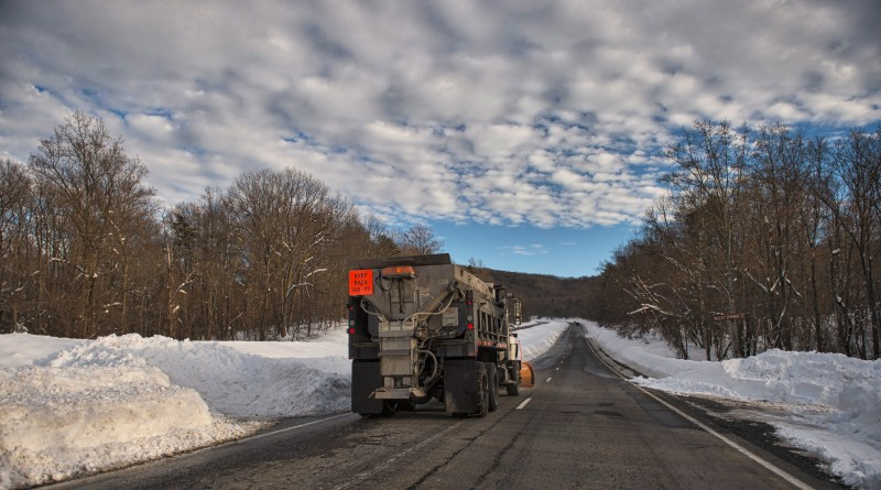 VDOT snow plows work on clearing Rt. 7 in the Blue Ridge Mountains after heavy snows in the higher elevations of up to and over 3 feet had the road pretty much impassable on Saturday.  (Photo by Douglas Graham/Loudoun Now)