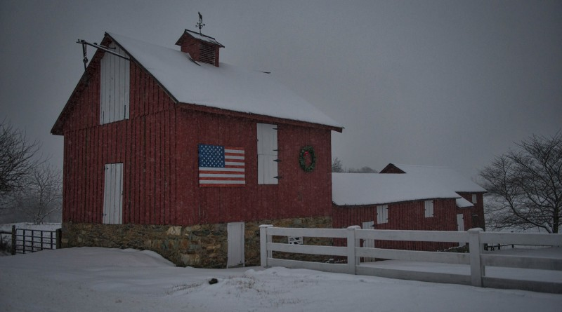 A barn in the village of Bluemont offers a pretty view of the storm.    [Photo by Douglas Graham/Loudoun Now]