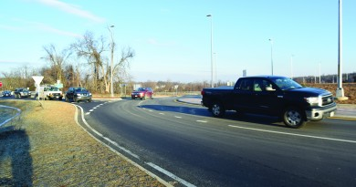 Motorists queue up to merge with Rt. 9 traffic at Clarke's Gap where new roundabouts have helped some drivers and increased frustration for others.