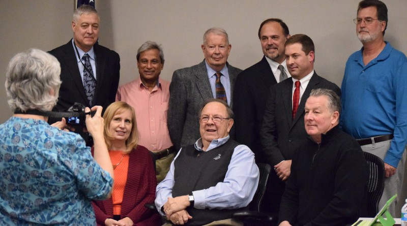 The 2016 Planning Commission assembles for a group picture. From left, front row: Kathy Blackburn (Algonkian), Charlie Douglas (Blue Ridge), and Jim Sisley (At Large). Back row, from left: Dan Lloyd (Sterling), Ad Barnes (Leesburg), Eugene Scheel (Catoctin), Vice Chairman Robert Klancher (Ashburn), Chairman Jeff Salmon (Dulles), and Cliff Keirce (Broad Run).  Renss Greene/Loudoun Now