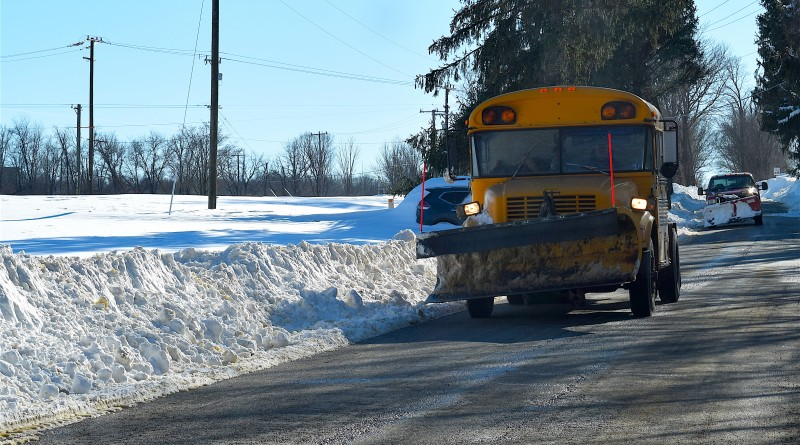 Getting the award for Loudoun's most creative snow fighter, this school bus has been converted to a plow and salt spreader.