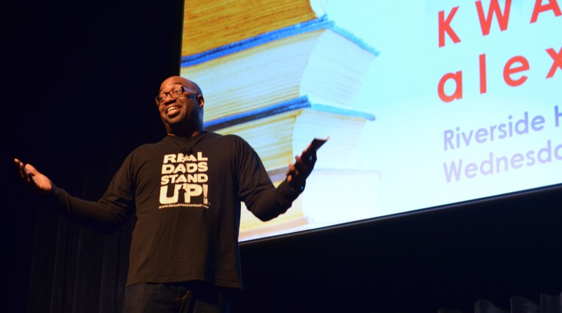 Poet and author Kwame Alexander, winner of a 2015 John Newbery Medal, encouraged Riverside High School students to step out of their comfort zone during a visit Wednesday.  [Danielle Nadler/Loudoun Now]