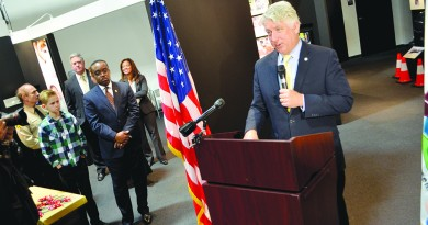 """Virginia Attorney General Mark Herring (D) speaks at the ribbon-cutting ceremony for the Drug Enforcement Administration's Museum traveling exhibit, """"Drugs, Costs and Consequences."""" (Danielle Nadler/Loudoun Now)"""