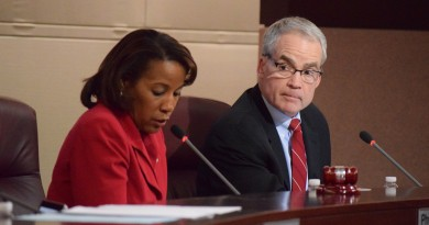 County Chairwoman Phyllis Randall (D-At large) and Supervisor Geary Higgins (R-Catoctin) look over budget options. (Renss Greene/Loudoun Now)