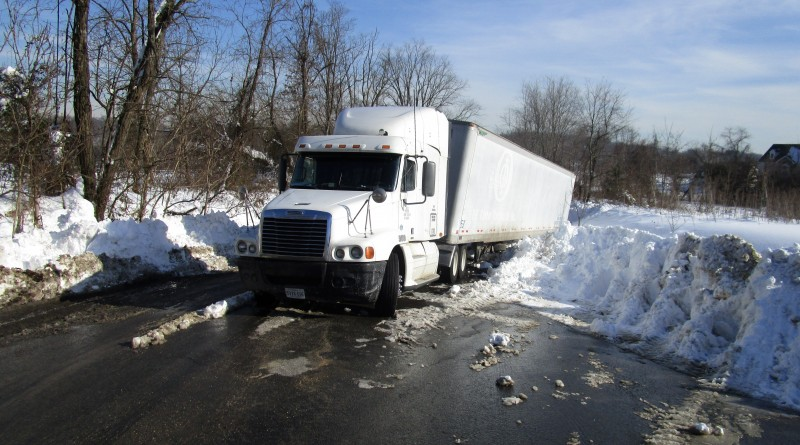 This 18 wheeler is blocked Braddock Rd at the entrance off of Rt 15 Monday afternoon.  By Jay Bradshaw