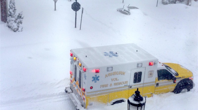 This ambulance couldn't make it all the way to the crew's call at a Lansdowne Town Center home, but they trudged though the snow. Mission accomplished.