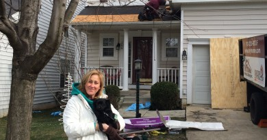 Sandy Leoni, a widow and mother of two elementary-aged children, was selected from among nominations made by customers and the community to receive fa free roof.