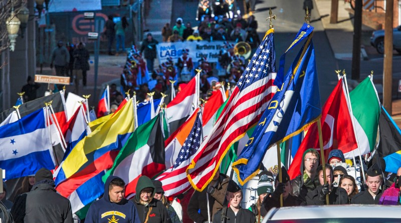 """Hundreds of people begin the march from Loudoun County Court House in downtown Leesburg to Douglass Community Center for the 24th annual Martin Luther King Jr. """"I Have a Dream"""" celebration.  (Photo by Douglas Graham/Loudoun Now)"""
