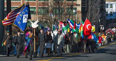 "Hundreds of people begin the march from Loudoun County Court House in downtown Leesburg to Douglass Community Center for the 24th annual Martin Luther King Jr. ""I Have a Dream"" celebration.  (Photo by Douglas Graham/Loudoun Now)"