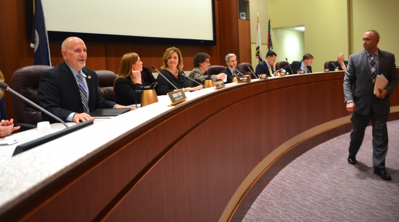 Loudoun County School Board members take their seats after being sworn in for their four-year term Jan. 4, 2016. (Danielle Nadler/Loudoun Now)