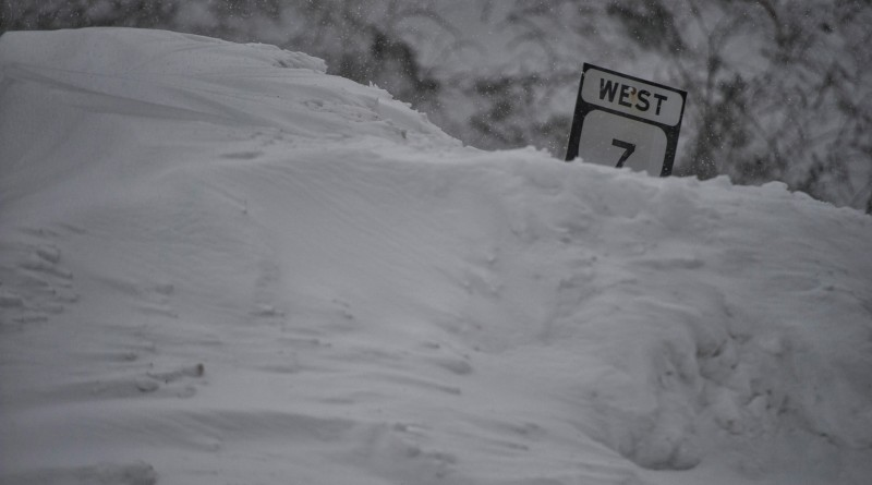 UNITED STATES - Jan. 23, 2016: Route 7 on top of the mountain UNITED STATES - Jan. 23, 2016: Route 7 on top of the mountain at 2 p.m. as the blizzard pushes into day 2 with snow totals going over 30 inches in parts of Western Loudoun County.  (Photo by Douglas Graham/Loudoun Now)