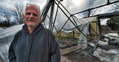 David Lohmann, owner of Abernethy and Spencer greenhouses in Lincoln, surveys the damage after 40 inches of snow from the blizzard caused his greenhouses full of spring plants to collapse. The 40-year-old structures are a total loss, but the 110-year-old historic greenhouses survived the record breaking storm.