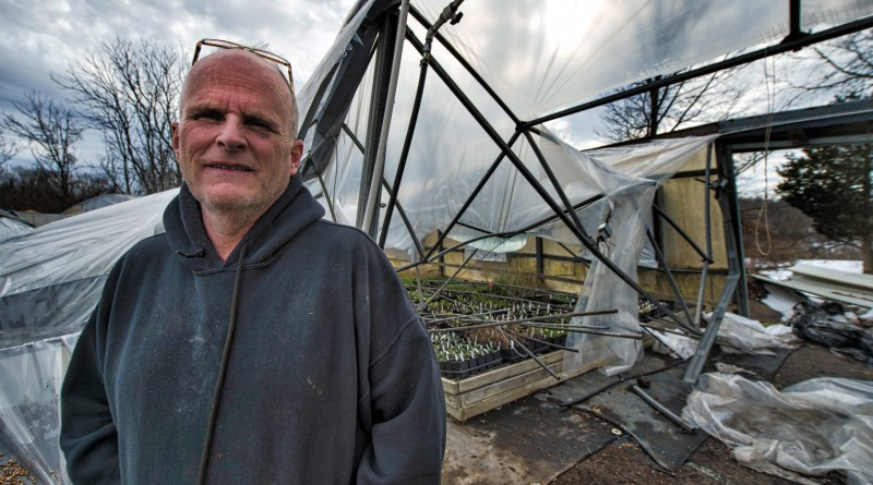 David Lohmann, owner of Abernethy and Spencer greenhouses in Lincoln, surveys the damage after 40 inches of snow from the blizzard caused his greenhouses full of spring plants to collapse. The 40-year-old structures are a total loss, but the 110-year-old historic greenhouses survived the record breaking storm.  (Photo by Douglas Graham/Loudoun Now)