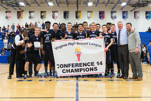 Potomac Falls Panthers won the Conference 14 championship on Saturday, defeating Stone Bridge 72-62.  [Chas Sumser, VivaLoudoun]