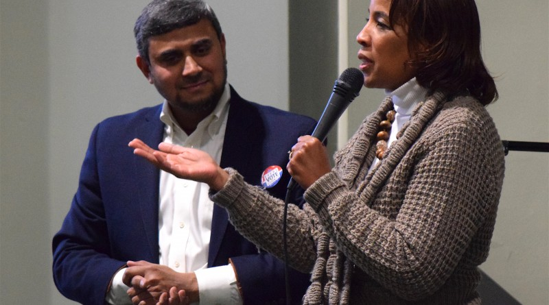 Loudoun County Chairwoman Phyllis J. Randall (D-At Large) addresses a crowd at the All Dulles Area Muslim Society in Sterling during a Black History Month Program on Feb. 26, 2016.