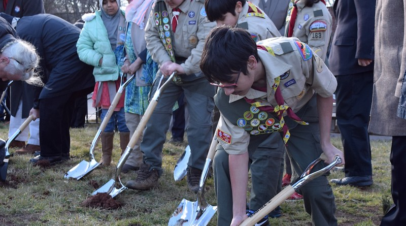 Boy Scouts from the All Dulles Area Muslim Society help with the groundbreaking for the Phase 3 expansion of the Sterling mosque. The addition will include a youth center.