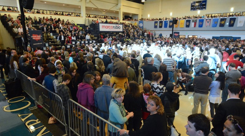 Rubio supporters gather in the gym at Patrick Henry College before the the rally.