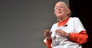 Joan Trumpauer Mulholland, who took part in three dozen sit-ins and protests during the civil rights movement of the 1960s, speaks at Rock Ridge High School Saturday. (Loudoun Now/Danielle Nadler)