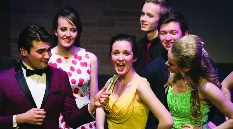 """Actors work out their lines during a dress rehearsal of """"Hairspray"""" at Franklin Park Arts Center in Purcellville Virginia.   (Photo by Douglas Graham/Loudoun Now)"""