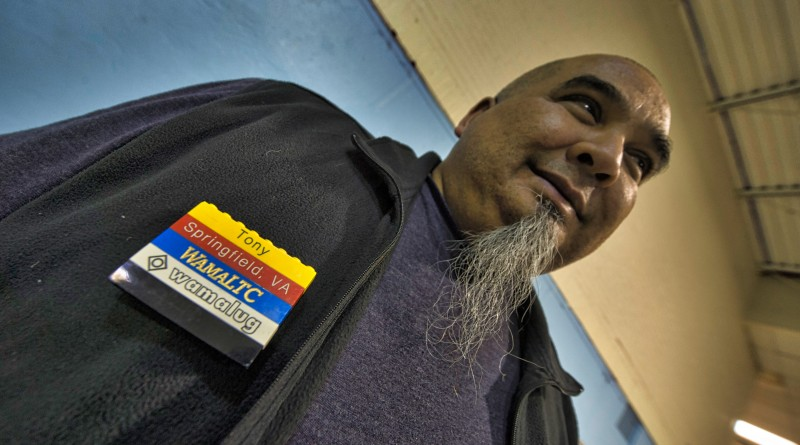 Tony Perez keeps an eye peeled at LEGO Mania at the Lovettsville Community Center.  (Photo by Douglas Graham/Loudoun Now)