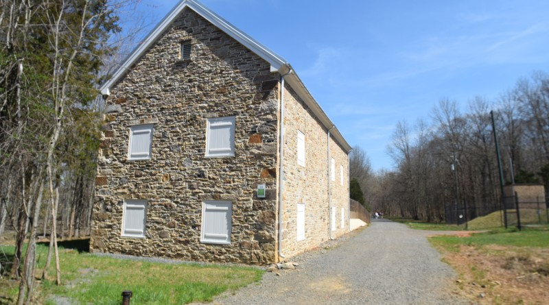 The DC Water Authority's odor abatement building along the Potomac Heritage Trail at Algonkin Park.