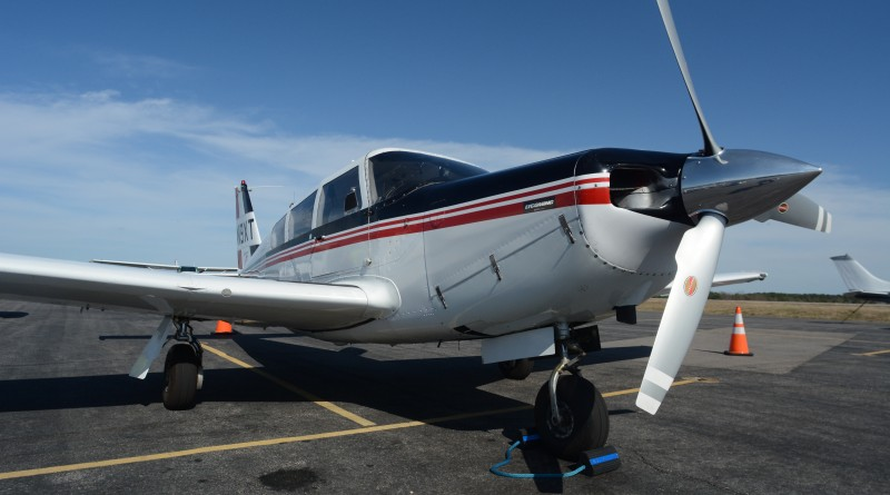 Dennis Boykin's 1969 Piper Comanche C sits on the tarmac at Fayetteville Regional Airport in North Carolina. (Renss Greene/Loudoun Now)