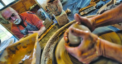 "David Norton of Round Hill Virginia is a self taught, full-time potter at his local studio Potterosa. Norton's studio is going to be part of the new Loudoun's ""artisan trail"" where you can go see and purchase art work form some of the areas finest artist.   (Photo by Douglas Graham/Loudoun Now)"