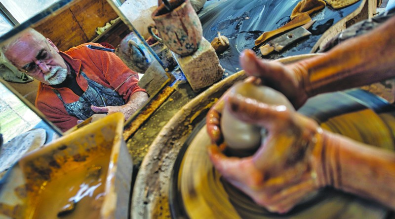 """David Norton of Round Hill Virginia is a self taught, full-time potter at his local studio Potterosa. Norton's studio is going to be part of the new Loudoun's """"artisan trail"""" where you can go see and purchase art work form some of the areas finest artist.   (Photo by Douglas Graham/Loudoun Now)"""