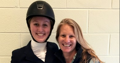 Saylor Hart poses with Riding Director Kate Worsham after Saylor took second at the Varsity Intermediate Over Fences class.