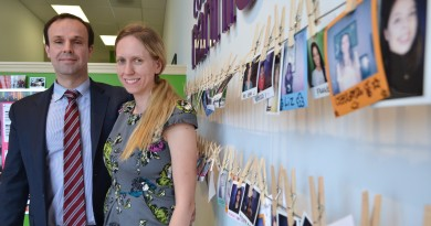 Simon and Caitlin Gillett, owners of the Ashburn and McLean College Nannies + Sitters + Tutors franchises, are pushing a new app that allows families to schedule their favorite babysitters in as little as three hours notice. (Danielle Nadler/Loudoun Now)