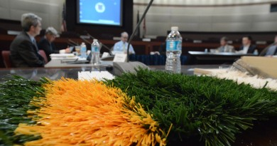 A sample of artificial turf with crumb rubber infill is displayed at the Joint Board of Supervisors/School Board Committee meeting March 18, 2016. (Renss Greene/Loudoun Now)