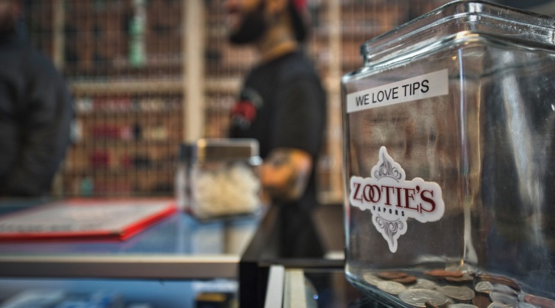 UNITED STATES - March 28, 2016: Zootie's Vapors is a new vaping store in Leesburg Virginia on Wirt Street. Vaping as it is called is to use a vaporizer to produce smoke paper. The process involves applying heat to a liquid which generates vapor. The user, called a vaper (smoker in traditional cigarette circles) gets their nicotine hit through inhaling the almost odorless vapor (smoking equivalent of ÔsmokeÕ).  (Photo by Douglas Graham/Loudoun Now)