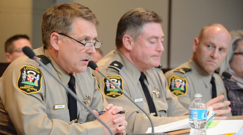 Sheriff Mike Chapman outlines his $6.7 million in total request to the Board of Supervisors. (Renss Greene, Loudoun Now)