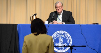 Chairwoman Phyllis J. Randall (D-At Large) addresses Hearing Examiner Michael D. Thomas.  Renss Greene/Loudoun Now