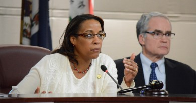 Chairwoman Phyllis J. Randall (D-At Large) and Supervisor Geary M. Higgins (R-Catoctin) hear concerns about a long project to adopt new software. (Renss Greene/Loudoun Now)