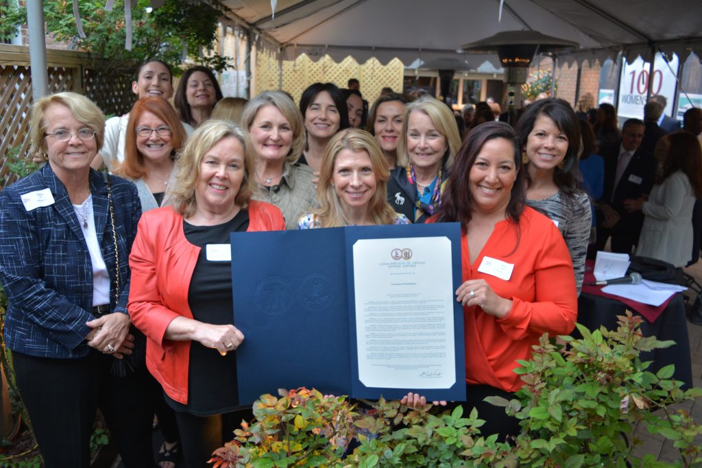 Members of 100WomenStrong stand with House Joint Resolution 368 and its chief patron, Del. Kathleen Murphy (D-34). (Renss Greene/Loudoun Now)