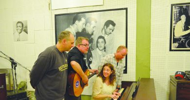 Andy Hawk and the Train Wreck Endings (from left, Andy Hawk, Paul Bordelon, Nancy Griffith-Cochran and Chuck Bordelon) recorded their latest single at Sun Studio in Memphis.  Courtesy of Andy Hawk